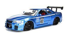 Jada 1/24 Metals Jdm Tuners 2002 Nissan Skyline Gt-R R34 Diecast Car 99117 Blue