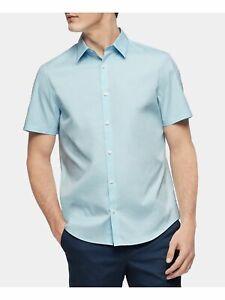 CALVIN KLEIN Mens Light Blue Short Sleeve Classic Fit Button Down Casual Shirt