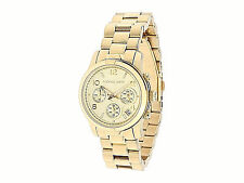 NWT Michael Kors Womens Watch Gold SS Bracelet Chrono Midsize RUNWAY MK5055 $250