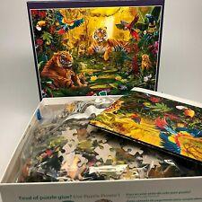 1000 Piece Puzzle Exotic Tiger Family in Jungle w/ Puzzle Diagram Buffalo Puzzle
