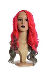 Red and Grey Long Full Volume Wavy Lace Front Wig   Diva Deluxe Wig