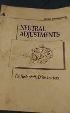 John Deere Eaton hydrostatic transmission neutral adjustment repair manual
