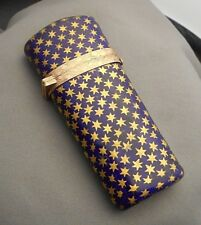 Antique Enameled Cobalt w/ Gold Stars Fitted ETUI NECESSAIRE Hinged Case - Empty