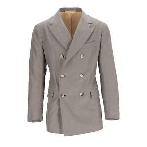 Stile Latino Sakko Doppelreiher Baumwolle Grau/Braun Gr. 48 (ehem. UVP € 1489,-)