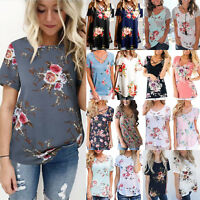 Women Floral Print Blouse Loose Short Sleeve T Shirt Summer Casual Tee Shirt Top