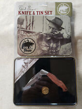 Fred Bear Archery Commemorative Knife and Tin Set With Brass Medallion