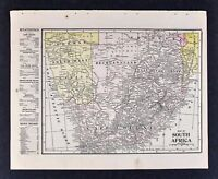 1905 Crowell Map Cape Colony South Africa Rhodesia Orange Natal Cap of Good Hope