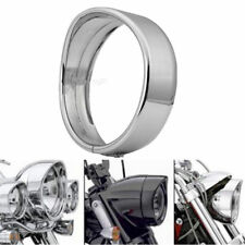 Chrome 7inch Headlight Bezel Trim Ring Protect Guard Cover Cap Fit For Harley