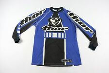 Vintage 90s Thor Mens XL Flow Color Block Spell Out Motocross Racing Jersey Blue