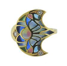 18k Gold Ring Plique A Jour Diamond