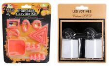 10 Piece Halloween Pumpkin Carving Set PLUS Pack of 2 LED Tealight Candles
