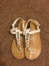 Girls size 2 sandals Autumn Run white with colored stones