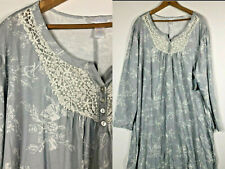 NEW Adonna 2X Nightgown Long Sleeves Stretch Knit Romantic Gray Floral PRETTY aa