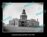 OLD 8x6 HISTORIC PHOTO OF COOLGARDIE SCHOOL OF MINES WESTERN AUSTRALIA c1920