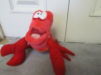 The Little Mermaid Sebastian Red Crab Plush Stuffed Vintage TYCO Disney 16""