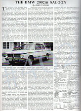 BMW 2002tii Saloon 1973 Collectable ARTICLE for Framing