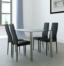 5pcs Dining Table Set 4 Chairs Glass Black Kitchen Room Breakfast Furniture