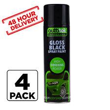 4 x AUTOTEK GLOSS BLACK SPRAY PAINT AEROSOL 500ml high coverage 48 hour Delivery