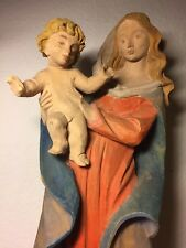 VINTAGE MODERN HAND CARVED WOOD MADONNA VIRGIN MARY OUR LADY & JESUS STATUE