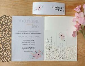 Laser cut Wedding Invitations 3 lasercut invitation SAMPLES invite pocketfold