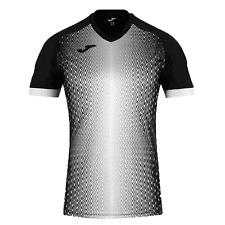 Joma Supernova Camiseta Blanco y Negro S/S Camisa Manga Corta Hombre Nuevo!