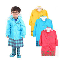 Cute All Seaon Thick Rain Coat W/Hood Rainwear Outdoor Jacket for Kids Girl Boy