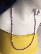 """Sterling Silver Pink Amethyst Round Beads string Necklace 18"""""""