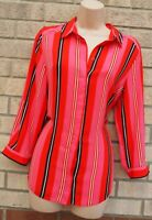 DOROTHY PERKINS RED PINK BLACK BUTTONED LONG SLEEVE STRIPED BLOUSE TOP 12 M
