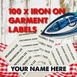 100 Iron-On Garment Labels Custom Printed Personalised School Nursery Name Tag