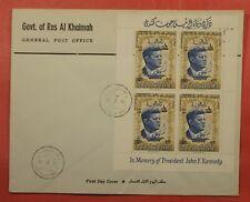 1966 RAS AL KHAIMA FDC REVALUED OVERPRINT IN MEMORY JFK JOHN F KENNEDY SHEET