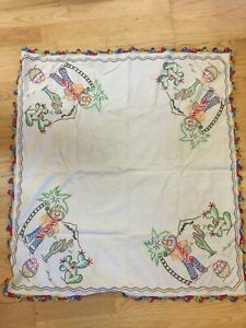 """Vintage Embroidered Tablecloth, 29"""" x 32"""", South of the Border/Mexican Theme"""