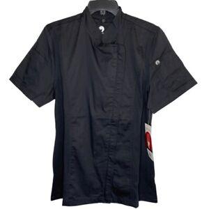 Chef Works Womens Sz M Black Bistro Short Sleeve Shirt NWT Asymmetric Zip Pocket