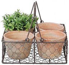 Esschert Design AT12 24 X 24 X 10cm Aged Terracotta 4 Pots In Wire Basket/