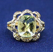 PRASIOLITE SOLITAIRE & DIAMOND ACCENTS RING SOLID 14 K GOLD 6.1 g SIZE 7.25