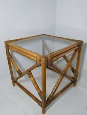 Vintage Glass Square Top Bamboo Frame End Table Boho Chic Mid Century Modern