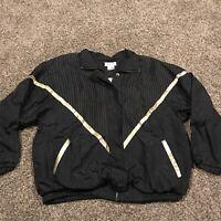 Euro Joy Vtg Nylon Full Zip Jacket Black Gold Mens XL A43