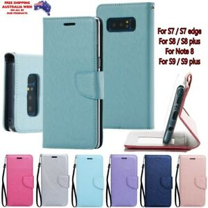 Samsung S9 S8 S10 S20 S21 plus Magnetic Wallet Flip Stand Card Holder Case Cover