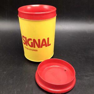 Vtg Aladdin Travel Cup Mug 10 Oz Signal Food Stores Yellow w Red Handle Lid USA