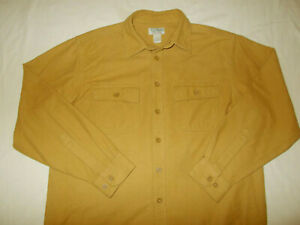 LL BEAN LONG SLEEVE BROWN BUTTON CHAMOIS SHIRT MENS LARGE EXCELLENT CONDITION