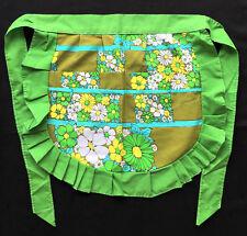 Wabasso 70s Vintage Pleated Half Apron Green & Yellow Pattern Flower Power