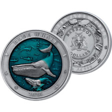 Blue Whale Underwater World 3 oz Antique finish Silver Coin 5$ Barbados 2020