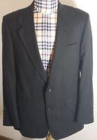 Evan Picone Mens Charcoal Wool Blazer Jacket Pinstriped Sport Coat 40R