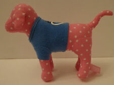 Victorias Secret Pink Polka Dot Dog With Peace Sign & Heart Shirt Plush Animal