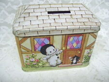 VINTAGE MIME CLOWN TIN BOX BANK HINGED LID  ENESCO Made in Hong Kong