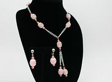 Art Deco Inspired Pink Silver Tone Necklace and Earring Set Long 80s Tassle Vtg