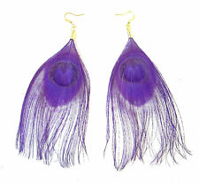 Purple Gold Peacock Feather Earrings Drop Hook Boho Dangle Festival Vintage 860