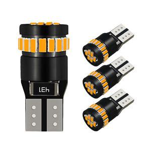 4Pcs T10 LED Car Side Marker Parking Canbus Light Bulb 194 168 158 3014 Amber