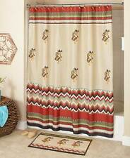 Kokopelli Southwestern Shower Curtain Hooks Rug Aztec Santa fe Accessory Set