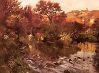 Oil painting Frits Thaulow - golden autumn, brittany stunning landscape canvas