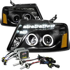 12000K HID KIT+BLACK DUAL HALO PROJECTOR+AMBER SIDE HEAD LIGHT FOR 04-08 F150